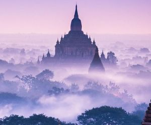 purple, castle, and nature image