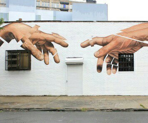 art, hands, and wall image