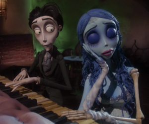 corpse bride, tim burton, and piano image