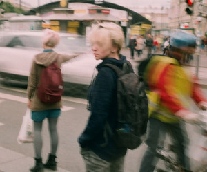 blurry, city, and people image