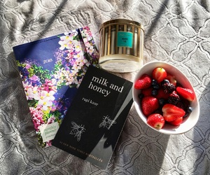 books, fruit, and relax image