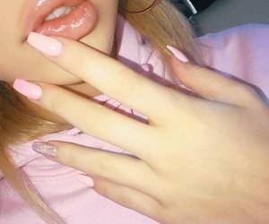 blonde girls, nail art, and lipgloss image