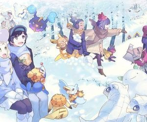 couple, snow, and lillie image