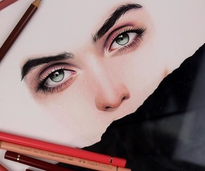 artist, eyes, and sketch image