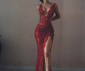 red, red dress, and red evening dress image