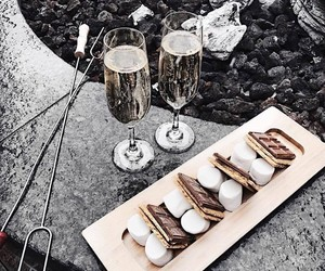 food, champagne, and chocolate image