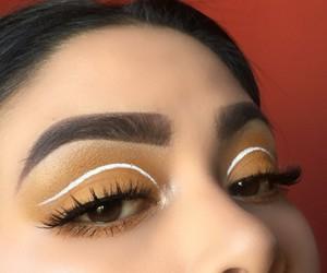 beauty, beige, and white eyeliner image