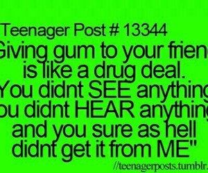 funny, gum, and teenager post image