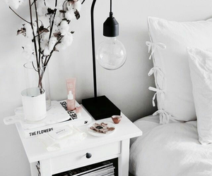bed, lamp, and room image