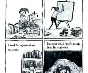 art, comic, and escape image