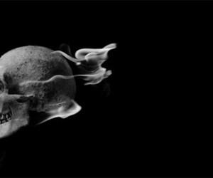 black, skull, and black & white image