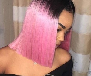 black, hair, and pink image