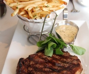 beef, fries, and restaurant image