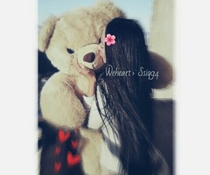 cute, girl, and teddy image
