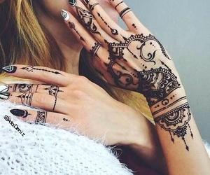 henna tattoo, mehndi design, and nail art image