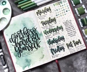 green, bullet journal, and inspiration image