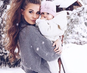 baby, beautiful, and mom image