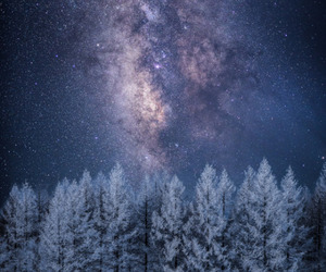 night, stars, and winter image