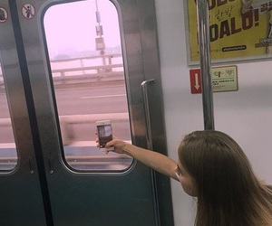 girl, iphone, and train image