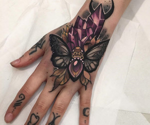 butterfly, tattoo, and hand image