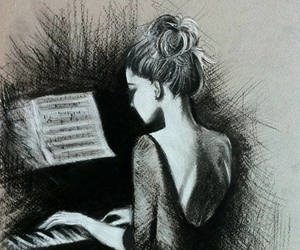 art, piano, and her image