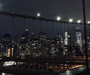 brooklyn bridge, city, and lights image