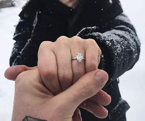 couple, engagement, and ring image