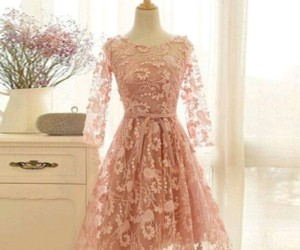 floral, lace dress, and pinkish colour image