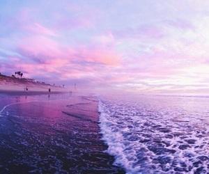 beach, purple, and waves image