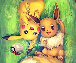 pokemon, eevee, and pikachu image