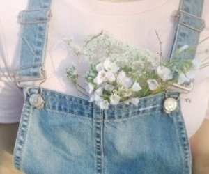 dungarees, flowers, and pastel image