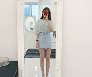 asian girls, denim skirt, and summer outfit image