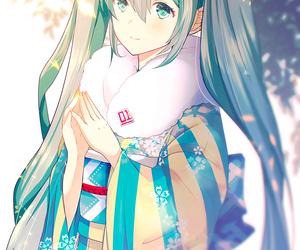 flowers, hatsune miku, and kimono image