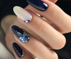 blue, nails, and dark blue image