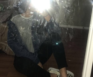 denim jacket, mirror, and outfit image