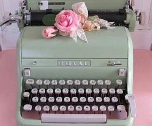 vintage, typewriter, and pink image