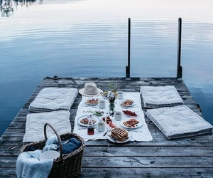 food, lake, and picnic image