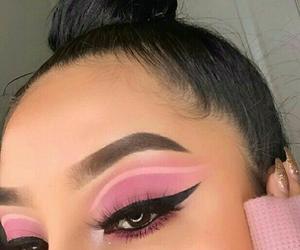 makeup, all pink, and cut crease image