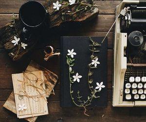 coffee, typewriter, and vintage image