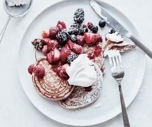 cake, morning, and pancake image