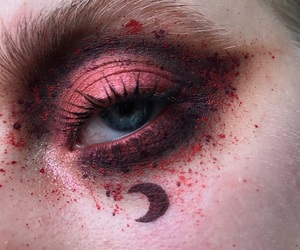 makeup, moon, and red image