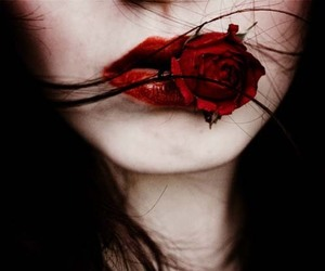 red lipstick and like red rose. image