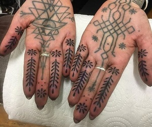 hand tattoo, hands, and nails image