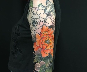 colors, tattoo, and flowers image