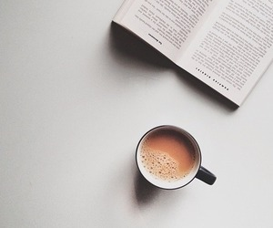 book, coffee, and morning image