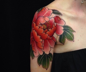 flower tattoo, red, and red flower image