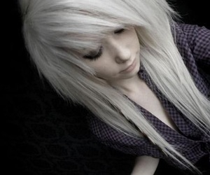blonde hair, dyed hair, and scene kid image