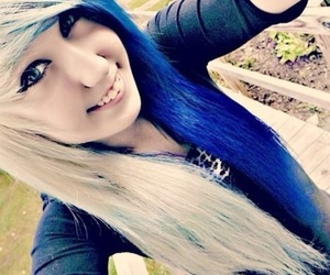 blue hair, dyed hair, and scene image