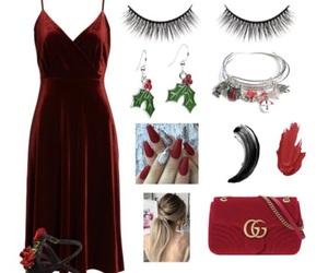 christmas, dress, and lashes image