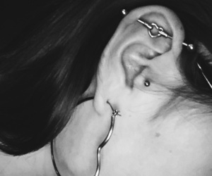 b&w, body modification, and earring image